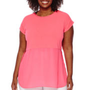 Worthington® Mixed Media Cap Sleeve Split-Side Tunic Blouse - Plus