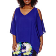 Worthington® Short-Sleeve Cold-Shoulder Blouse - Plus