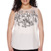 Worthington® Sleeveless Embroidered Blouse - Plus