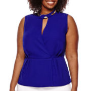 Worthington® Keyhole Neckline Sleeveless Peplum Blouse - Plus