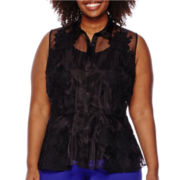 Worthington® Sleeveless Peplum Blouse - Plus