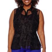 Worthington® Sleeveless Peplum Blouse - Plus