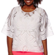 Worthington® 3/4-Sleeve Lace Top - Plus