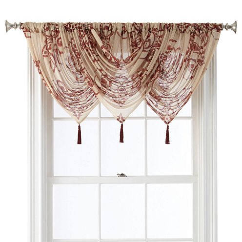 Royal Velvet® Ardesia Rod-Pocket Sheer Waterfall Valance