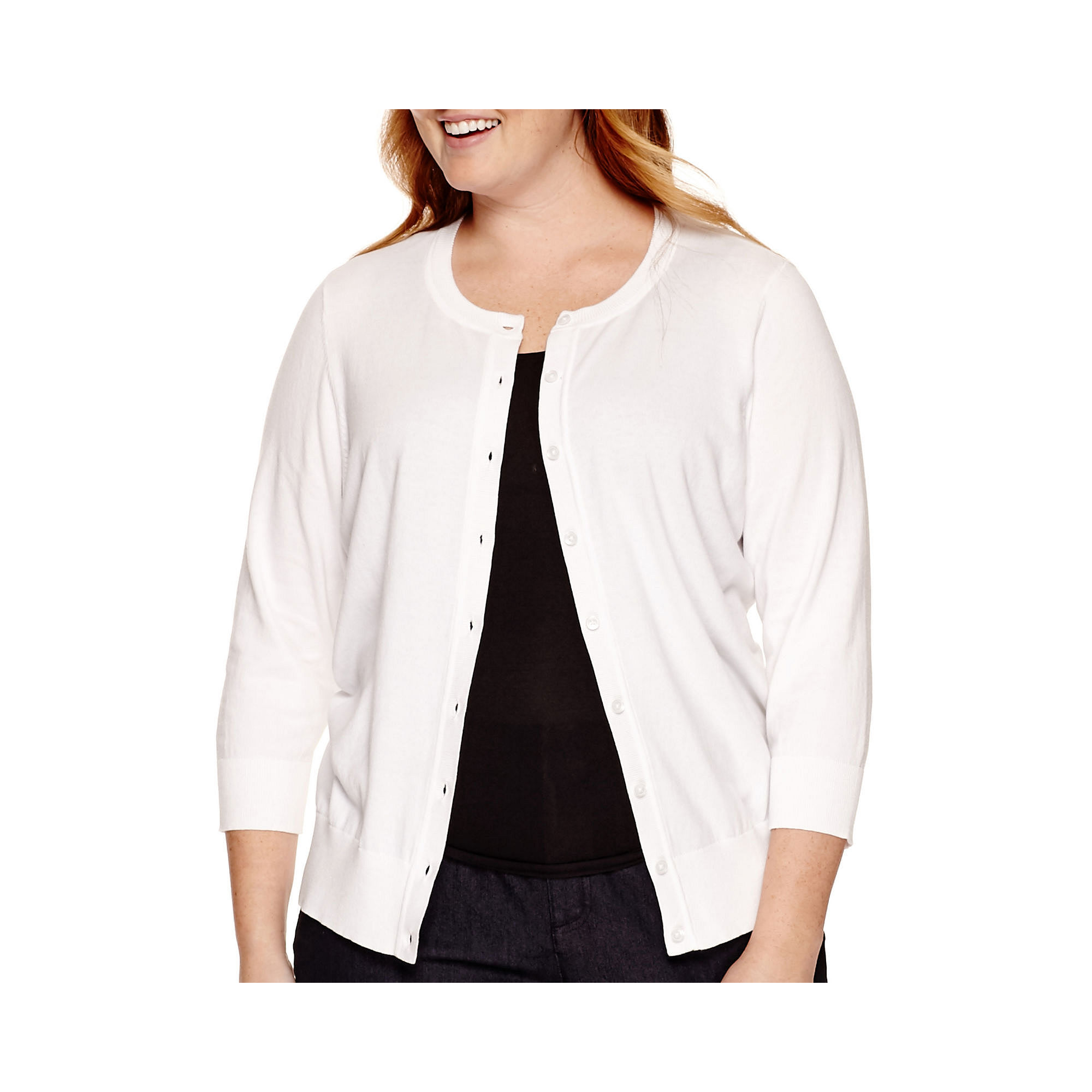 St. John's Bay Button-Front Cardigan Sweater - Plus plus size,  plus size fashion plus size appare