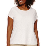 Liz Claiborne® Short-Sleeve Lace Tee - Plus