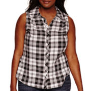 Arizona Sleeveless Plaid Shirt - Juniors Plus