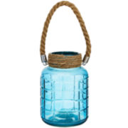 Glass Lantern with Rope Handle Decorative Accent