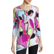 Worthington® 3/4-Sleeve Cold-Shoulder Tunic Top