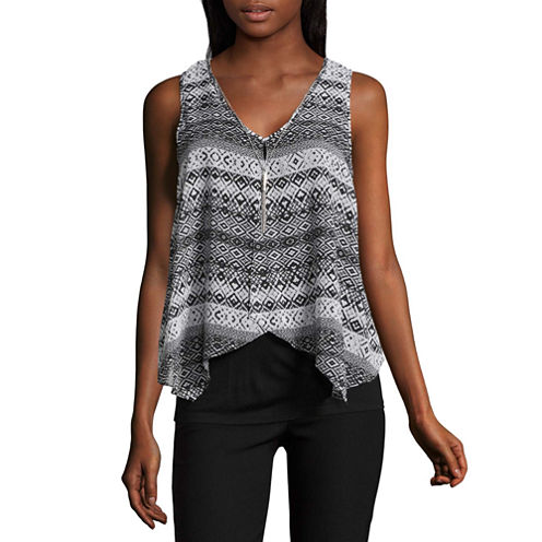 by&by Sleeveless V Neck Crepe Geo Linear Blouse-Juniors