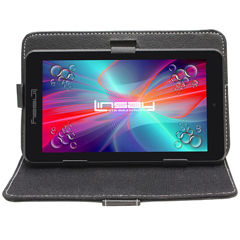 """LINSAY® 7"""" Quad Core 1280x800 IPS Screen 8GB DUAL CAM Bundle with Black Leather Protective Case"""