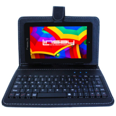 "jcpenney.com | LINSAY® 7"" QUAD CORE 1280x800 IPS Screen 8GB DUAL CAM Tablet Bundle with Black Leather Keyboard Case"