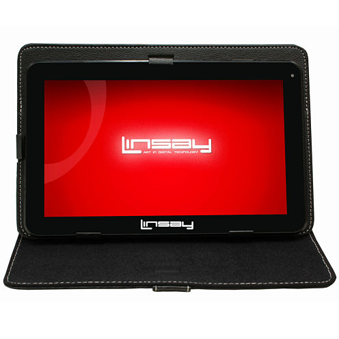 LINSAY® New 10.1'' Quad Core 1024x600HD 8GB Tablet with Black Leather Protective Case