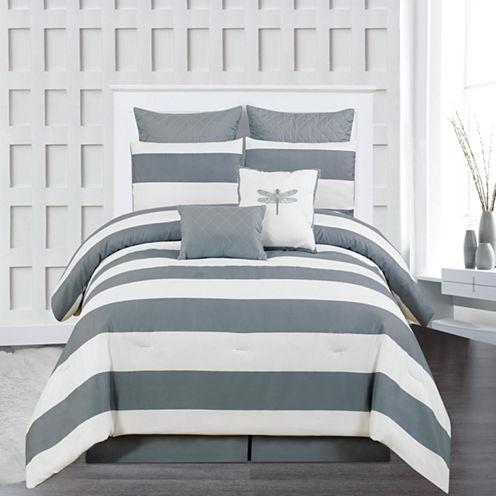 DUCK RIVER 8-pc. Delia Stripe Printed Comforter Set