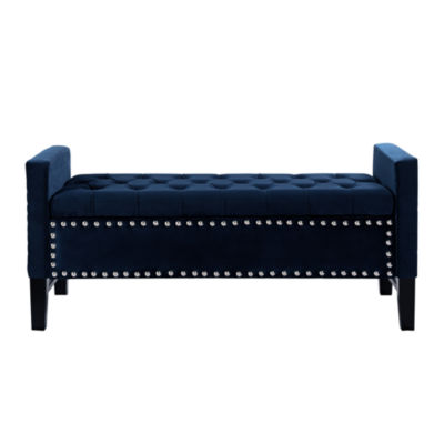 Inspired Home Emmaline Velvet Modern Contemporary Button Tufted With Silver Nailhead Trim Multi Position Storage Bench by Asstd National Brand