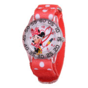 Disney Kids Minnie Mouse Easy-Read Nylon Fast Strap Watch
