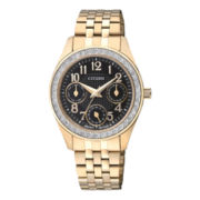 Citizen® Womens Crystal-Accent Gold-Tone Stainless Steel Watch ED8132-55E
