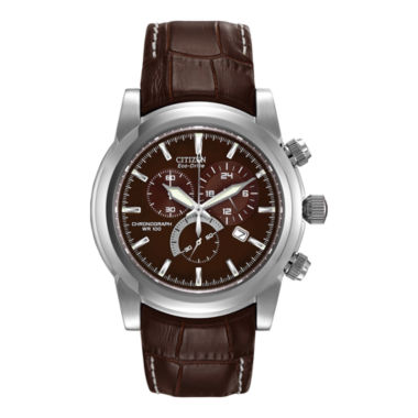 jcpenney.com | Citizen® Eco-Drive® Mens Brown Leather Strap Sport Watch AT0550-11X