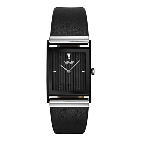 Citizen® Eco-Drive® Mens Rectangular Black Leather Strap Watch BL6005-01E