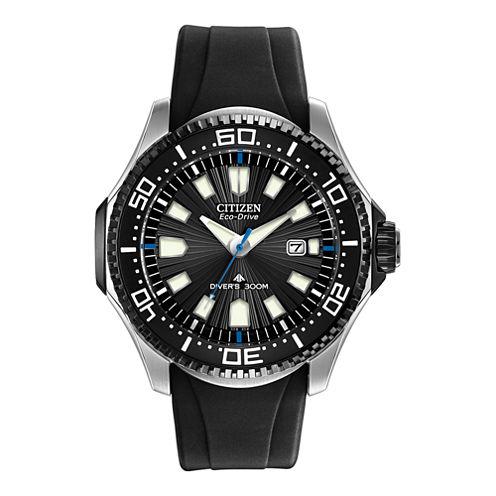 Citizen® Eco-Drive® Mens Black Silicone-Strap Dive Watch BN0085-01E