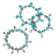 Aris by Treska Simulated Turquoise 3-pc. Stretch Bracelet Set