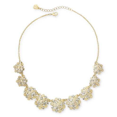 Monet® Gold-Tone & Glass Collar Necklace
