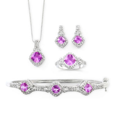 jcpenney.com | Lab Created Pink Sapphire & Cubic Zirconia 4-pc. Boxed Jewelry Set