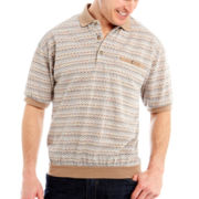 Palmland® Short-Sleeve Jacquard Banded Bottom Polo
