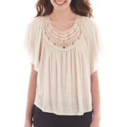 by&by Flutter-Sleeve Crocheted Top