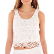 Olsenboye® Sleeveless Scalloped Crochet Crop Top