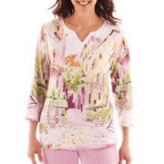 Alfred Dunner® Cape Cod 3/4-Sleeve Scenic Top - Petite