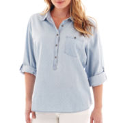 jcp™ Roll-Sleeve Denim Shirt Plus