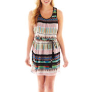 City Triangles Sleeveless Belted Blouson Dress