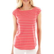 Liz Claiborne® Cap-Sleeve Striped Button-Shoulder Tee