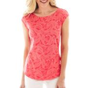 Liz Claiborne® Cap-Sleeve Striped Button-Shoulder Tee