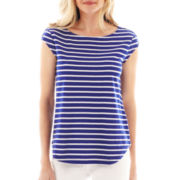 Liz Claiborne Cap-Sleeve Striped Button-Shoulder Tee