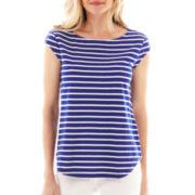 Liz Claiborne Cap-Sleeve Striped Button-Shoulder Tee
