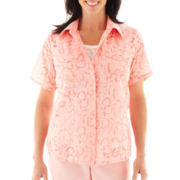 Alfred Dunner® Garden District Floral Burnout Layered Top - Petite
