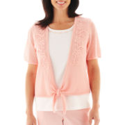Alfred Dunner® Garden District Crochet Tie-Front Layered Top