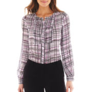 Worthington Long-Sleeve Pleated Blouse - Tall