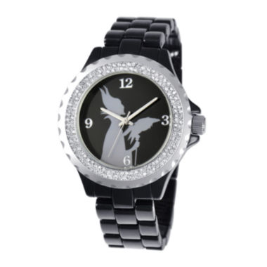 jcpenney.com | Disney Maleficent Womens Crystal-Accent Black Bracelet Watch