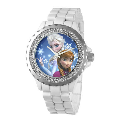 Disney Frozen Womens Crystal-Accent White Bracelet Watch