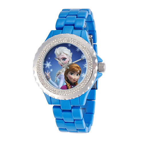 Disney Frozen Womens Crystal-Accent Blue Bracelet Watch