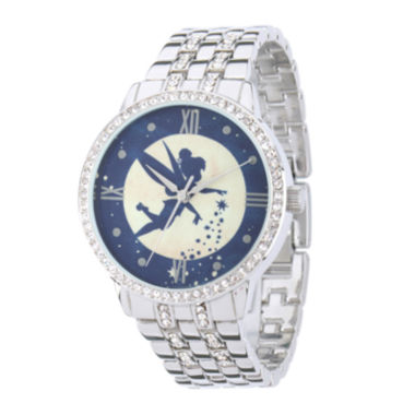 jcpenney.com | Disney Tinker Bell Womens Crystal-Accent Silver-Tone Bracelet Watch