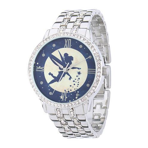 Disney Tinker Bell Womens Crystal-Accent Silver-Tone Bracelet Watch