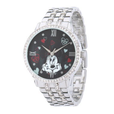 jcpenney.com | Disney Minnie Mouse Womens Crystal-Accent Silver-Tone Bracelet Watch