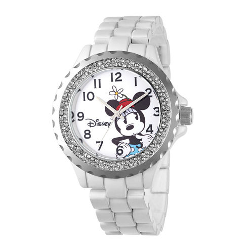 Disney Minnie Mouse Womens Crystal-Accent White Bracelet Watch