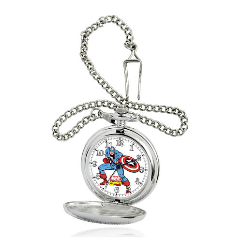 Marvel® Captain America Mens Silver-Tone Pocket Watch
