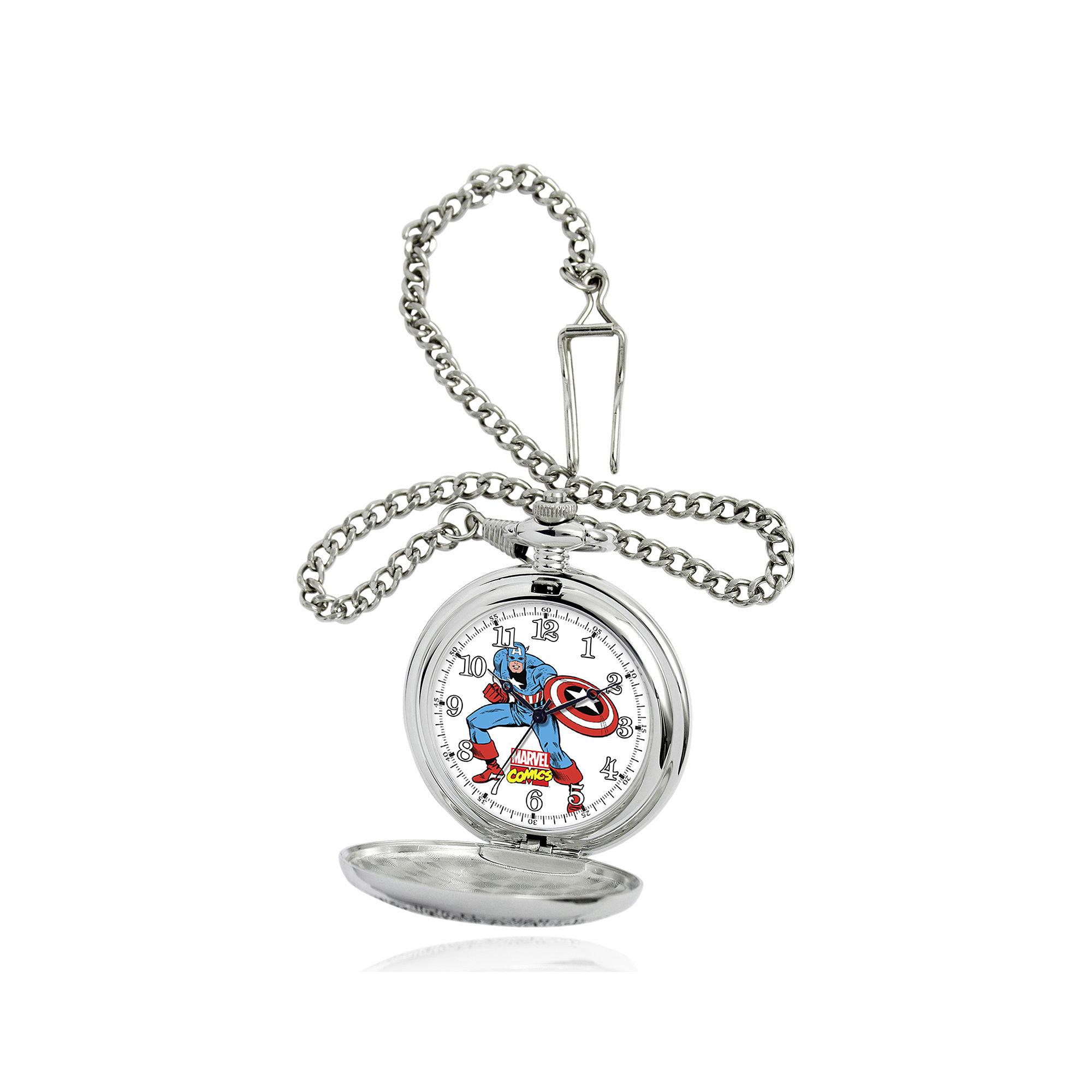 Marvel Captain America Mens Silver-Tone Pocket Watch