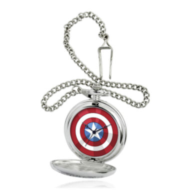 jcpenney.com | Marvel® Captain America Shield Mens Silver-Tone Pocket Watch